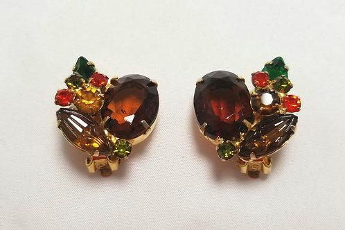 Juliana multi-colored, clip-on, rhinestone earrings, fall colors