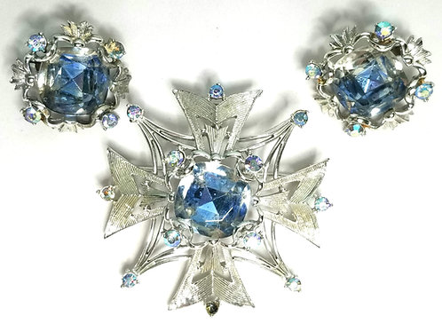 Designer by Coro, set, slide pendant and earrings, blue glass stones, rhinestone