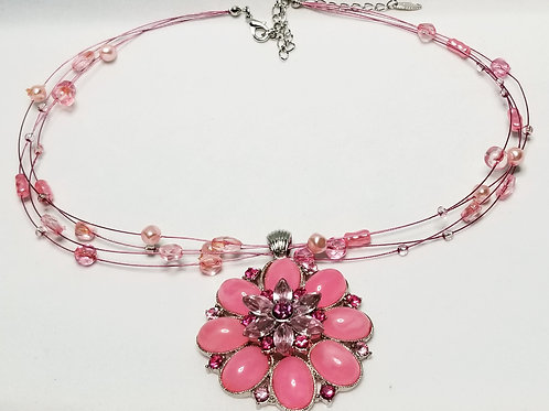 Designer by VCLM, necklace, flower motif, pink cabochons and beads