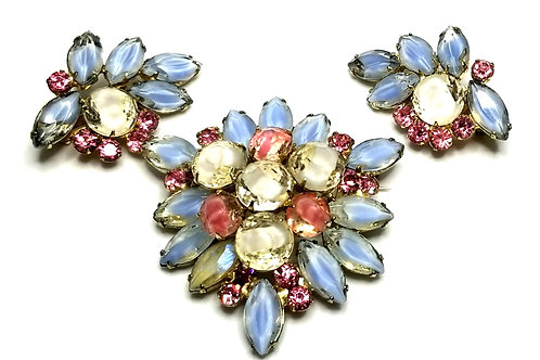 Designer by Juliana, set, brooch, earrings, flower motif, pink and multi color.