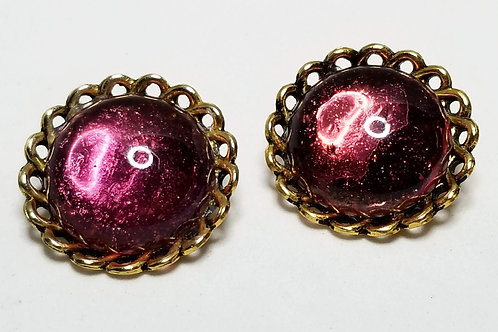 Designer by Tara, earrings, clip on purple cabochons in gold tone