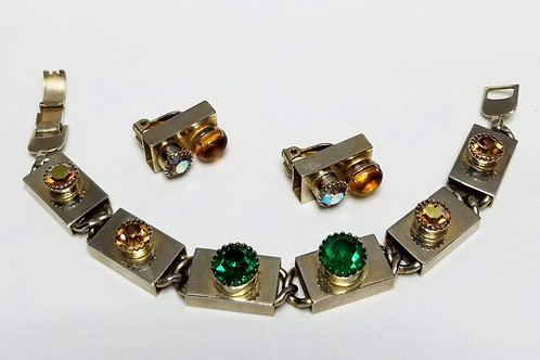 Designer by Sperry, set, bracelet and earrings, clip on, multi color rhinestones