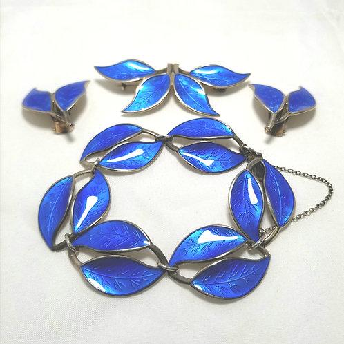 David Andersen Norway Silver brooch, bracelet, earrings set, blue enamel leaves