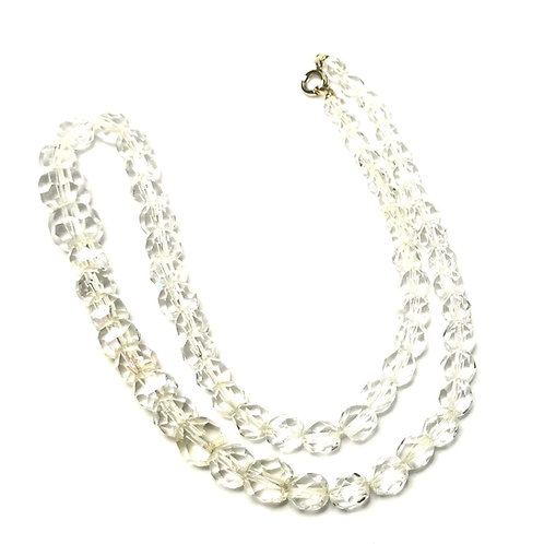 Designer by provenance, necklace, clear faceted graduated beads, 18 inches.