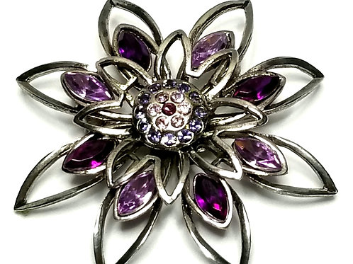 Designer by provenance, brooch, flower motif, purple marquis stones, rhinestones