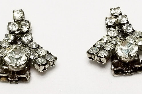 Designer by SGD OR, earrings, clear rhinestones in silver tone pot metal.