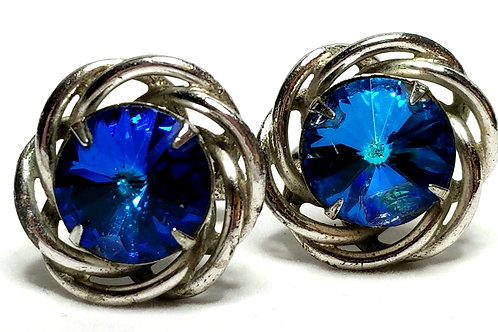 Designer by Dante, cuff links, blue faceted stones in silver tone.