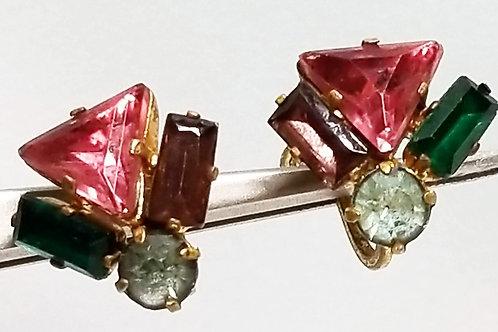 Designer by Czech, earrings, pink, purple and green rhinestones