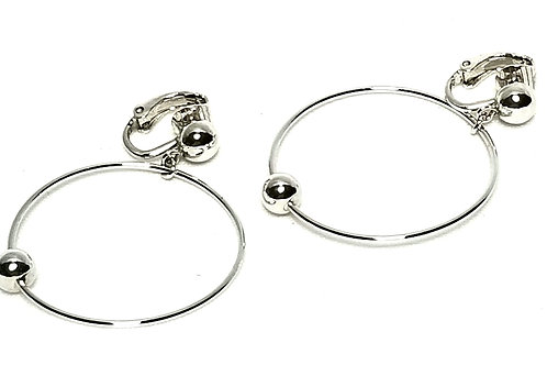 Designer by Crown Trifari, earrings, clip on silver tone hoops.
