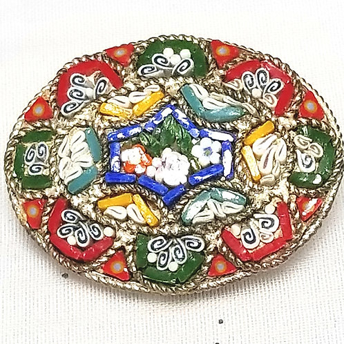 Designer R.M. Made in Italy, brooch, micro mosaic multi color floral 1 inch