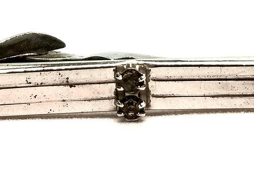 Designer by Swank, tie clip, two rhinestones in silver tone, 1 1/2 x 3/4 inch.