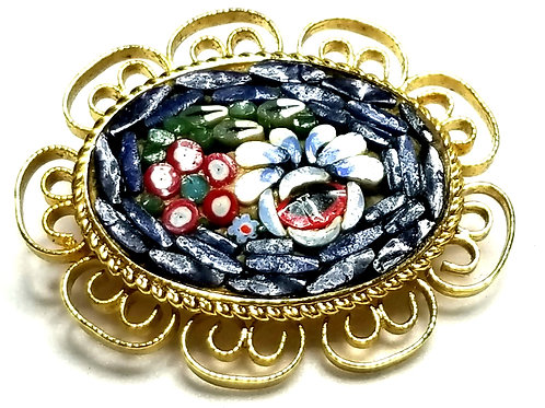 Designer by provenance, brooch, multi color micro-mosaic cut glass, gold tone.