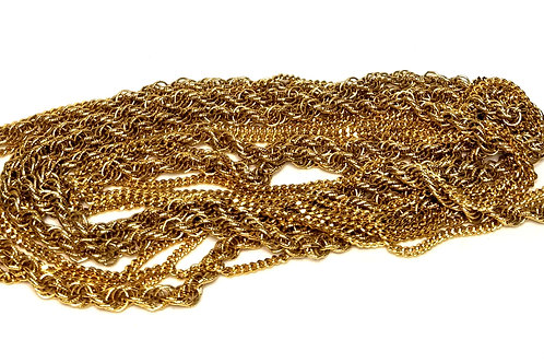 Designer by Monet, necklace, multi strand, chain links, gold tone 54 inches.
