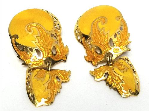 Designer by Edgar Berebi, earrings, clip on leaf motif, gold enamel in gold tone