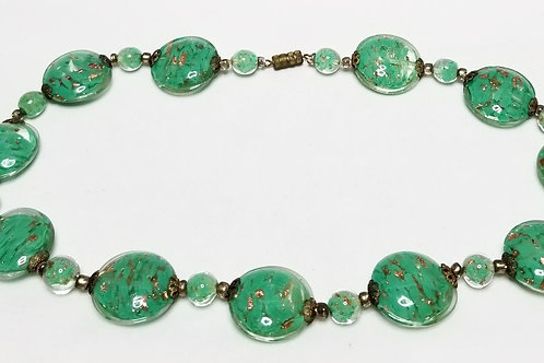 Designer by Murano, necklace, green with gold foil in gold tone pot metal.