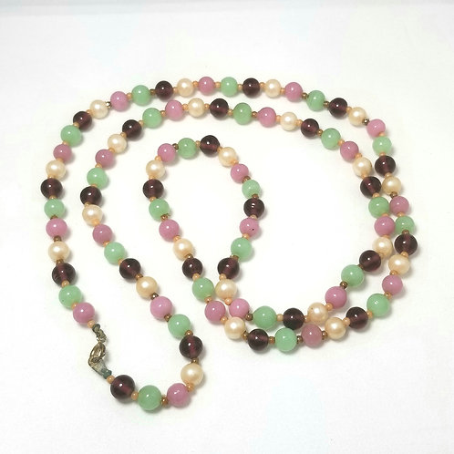 Designer by provenance, multi-colored beaded necklace, 28 inches