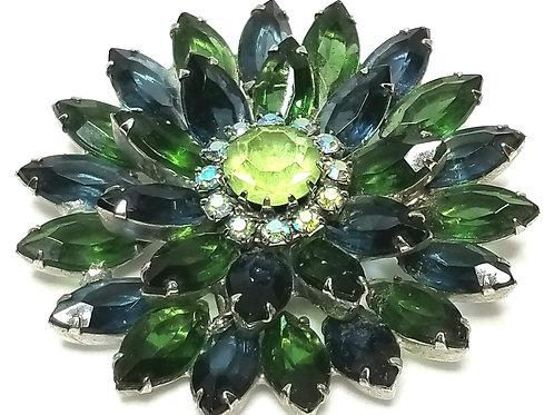 Designer by Weiss, brooch, flower motif, green and blue stones, rhinestones.
