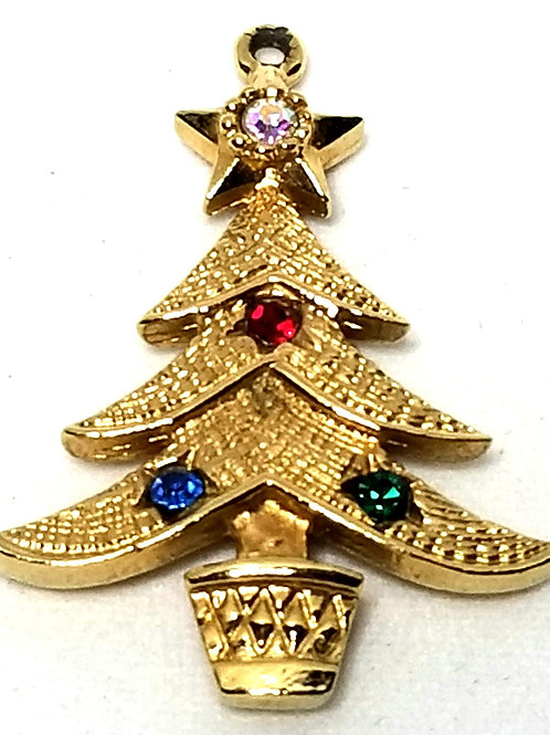 Designer by Emmons, pendant, Christmas tree motif, multi color rhinestones.
