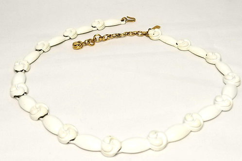 Designer by Monet, necklace, choker, knot motif, white painted gold tone.