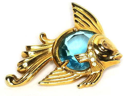 Designer by provenance, brooch, fish motif, blue glass faceted stone gold tone.