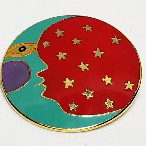 Designer by Laurel Burch, brooch, Moonface, multi color enamel.
