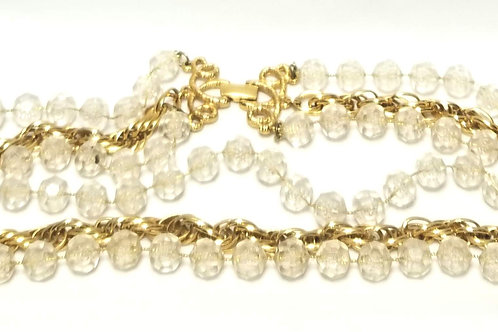 Designer By Sarah Cov, necklace, clear round faceted beads in gold tone, 20 inch