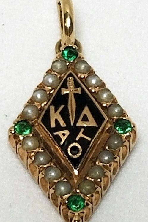 Designer by oSo, pin/pendant, Kappa Delta Sorority, greens stones, seed pearls