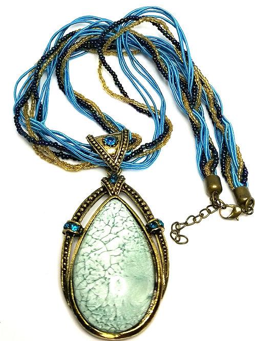 Designer by provenance, necklace, multi strand blue stone/rhinestones..