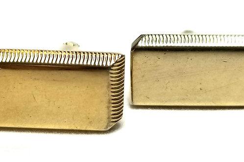Designer by Dante, cuff links, geometric motif, gold tone, 1/2 x 7/8 in
