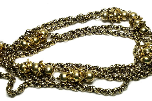 Designer by Alice, necklace, balls and chains motif, gold tone, 30 inches.