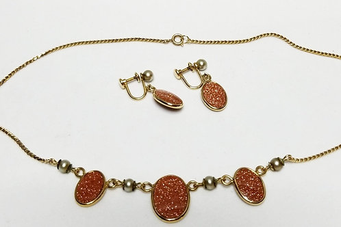Designer by Van Dell, set, necklace and earrings, orange cabochons in 12k GF.