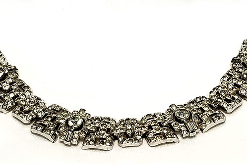 Designer by Crown Trifari KTF 1935, bracelet, clear rhinestones in silver tone.