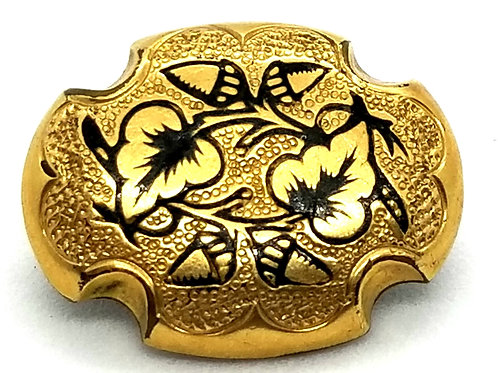 Designer by provenance, brooch/pin, vines motif (2 of 2), black in gold tone.