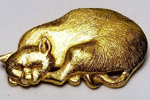 Designer by B.M.P., brooch, cat motif, gold tone pot metal.
