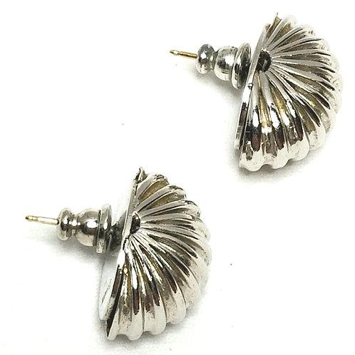 Designer by Napier, earrings, pierced posts, shell motif in silver tone.
