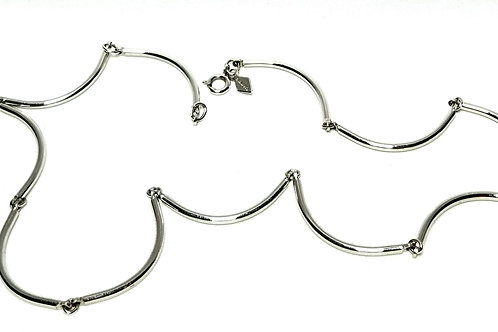 Designer By Sarah Cov, necklace, 17 inch silver tone tube links.