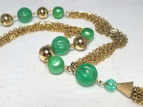 Designer by provenance, neck wear, green faux pearls necklace 25 inch gold tone