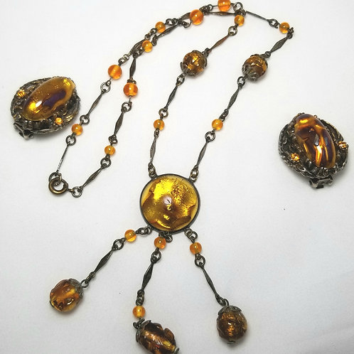 Designer by Czeck, gold foil necklace and earrings set, clip on.