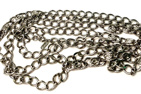 Designer by Monet, bracelet, chain links knot motif, silver tone 54 inches.