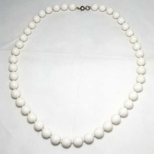 """Designer by provenance necklace, white beaded strand, gold tone clasp, 25"""""""