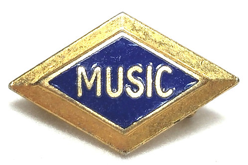 Designer by provenance, pin, music theme, blue enamel in gold tone.