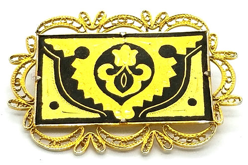 Designer by provenance, brooch, flower motif, black and gold tone, 1 x 2 inches.