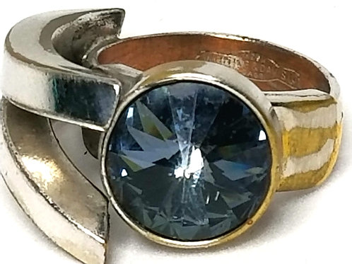 Designer by Whiting and Davis Co, ring, adjustable, blue faceted glass stone.