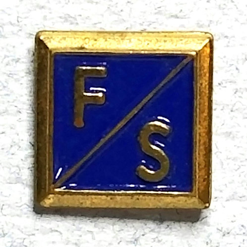 Designer by OSEO, pin, sorority F/S motif, blue enamel in gold tone.