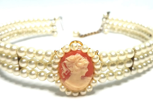 Designer by provenance, cameo choker, white faux pearls, in gold tone.