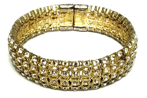 Designer by provenance, bracelet, bangle, clear rhinestones, gold tone.