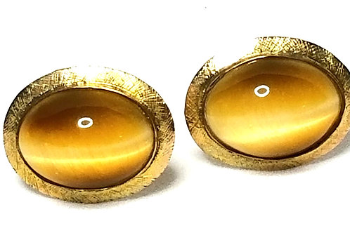 Designer by provenance, cuff links, oval Tigers eye like stone, 14K gold filled.