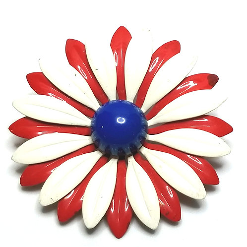 Designer by provenance, brooch, flower motif, red, white and blue, gold tone.
