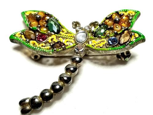 Designer by provenance, brooch or pendant, dragonfly motif, multi color.