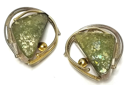 Designer by Avi Soffer, earrings, clip on, green Roman glass stones, 925 silver.